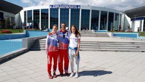 Viky, tréner a Zuzka na Karate1 v Istanbule